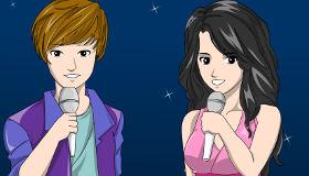 Juego de colorear de Justin Bieber y Selena Gomez