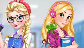 Elsa de Frozen y Rapunzel