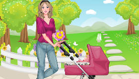 Nancy pasea a su hermanita